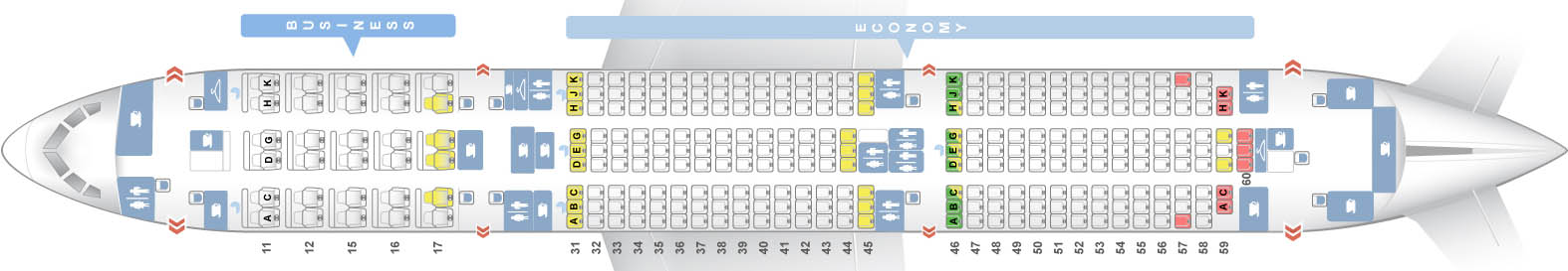 boing 787 shema salona