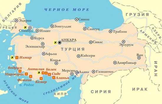 kakie morya omyvajut turciju
